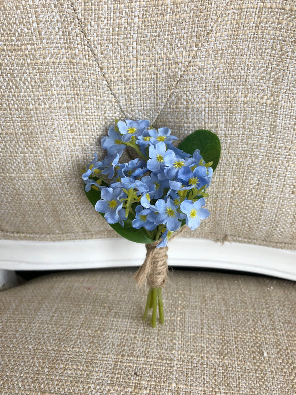 Pale blue forget me not silk wedding buttonhole / boutonniere.