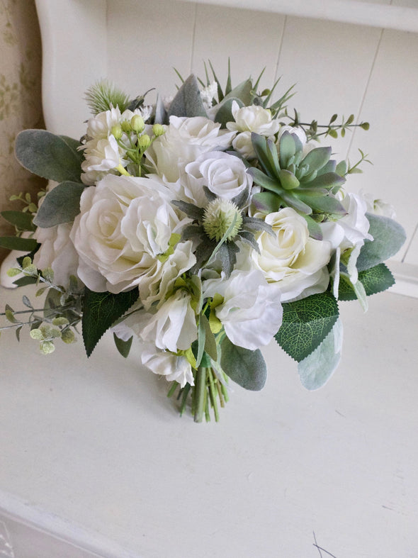White and green succulent silk wedding bouquet.