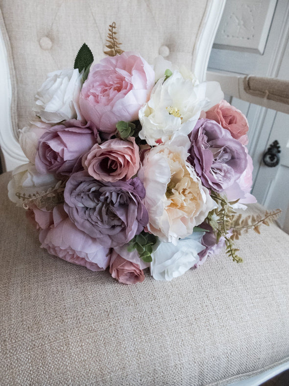 Ivory, mauve, pale pink and dusky pink silk wedding bouquet.