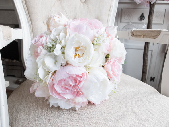 Pale pink peony wedding bouquet.