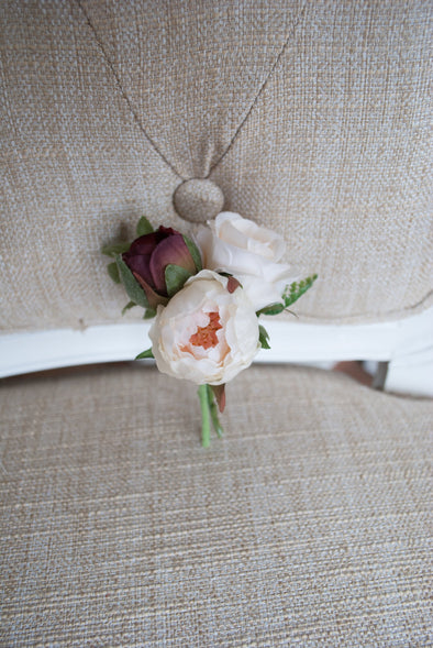 burgundy wedding buttonhole