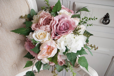Natural dusky pink wedding bouquet. Country garden wedding flowers.