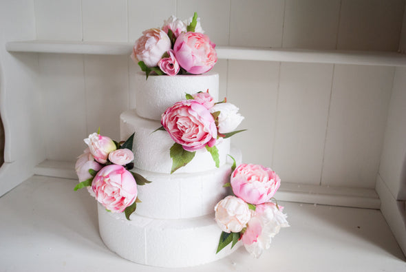 pink peony cake topper