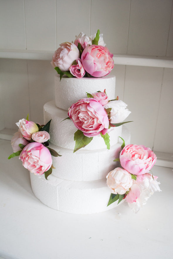 Pink peony cake flowers. Wedding cake topper and sprays.