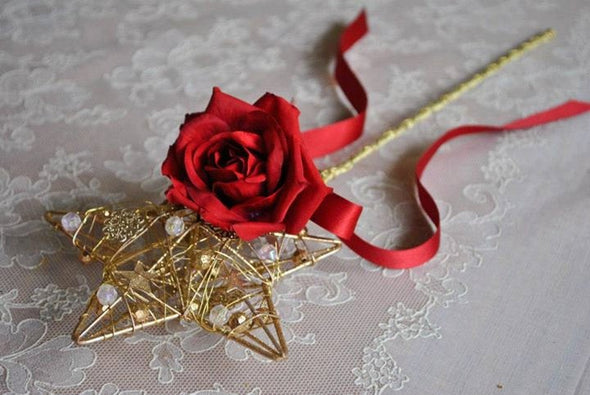Gold star flower girl's red rose flower wand