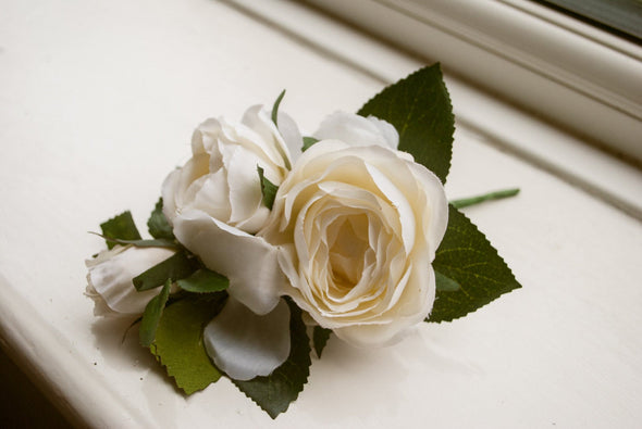cream wedding corsage