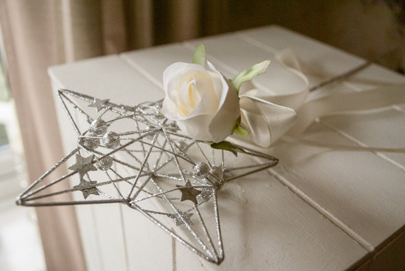 white rose flower girl wand