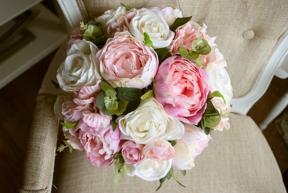 Country garden pink peony wedding bouquet