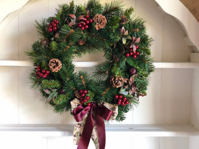 Natural spruce and pine cones Christmas wreath.