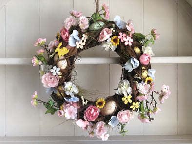 Rustic Easter silk flower wreath.
