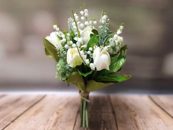 Spring tulips and lily of the valley silk flower arrangement