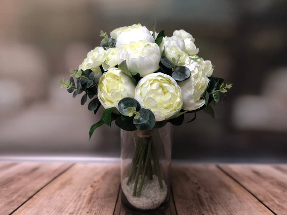 Cream peonies and eucalyptus silk flower arrangement