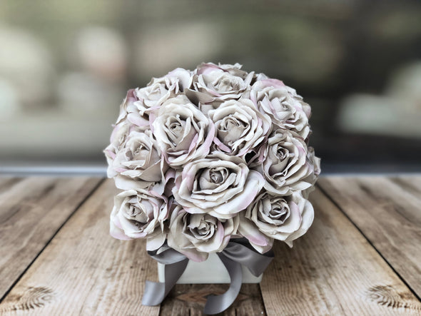 Grey and dusky pink two tone roses silk flower arrangement in a white acrylic cube
