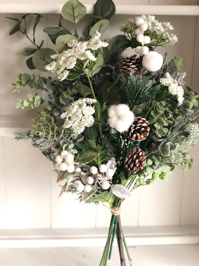 Rustic winter white silk flower arrangement.