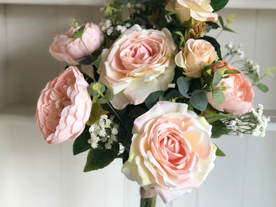 Blush pink peonies and roses silk flower arrangement