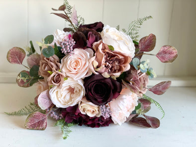 Blush, dusty rose and burgundy silk wedding bouquet.