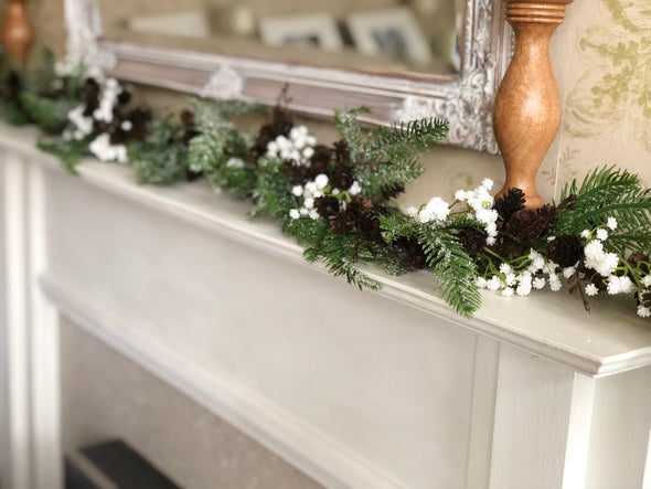 Frosty spruce, gypsophila and pine cones artificial Christmas garland.