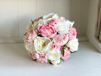 Pink peonies and ivory roses silk wedding bouquet.