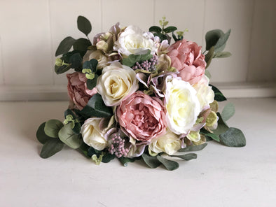 Dusky pink and cream rustic silk wedding bouquet.