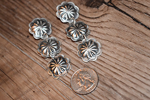 Sterling Silver Dangle Concho Earrings