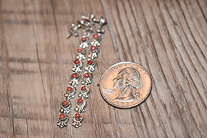 Seven Stone Coral Post Earrings