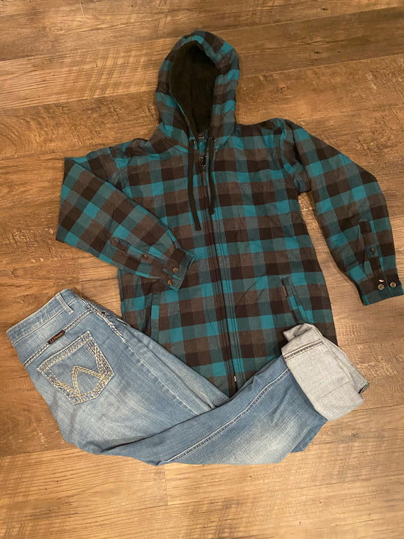 Women's Teal Plaid Sherpa Jacket