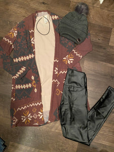 Burgundy Printed Cardigan