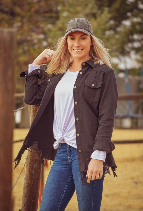 Distressed Black Denim Shirt