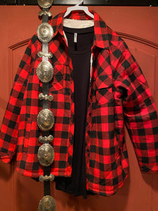 Red Plaid Sherpa Lined Jacket