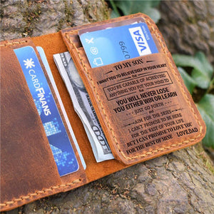 Dad To Son -You Will Never Lose- Leather Bifold Wallet