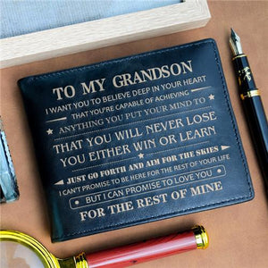 To My Grandson - Never Lose - Black Leather Wallet