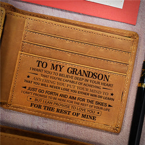 To My Grandson - Never Lose- Leather Wallet