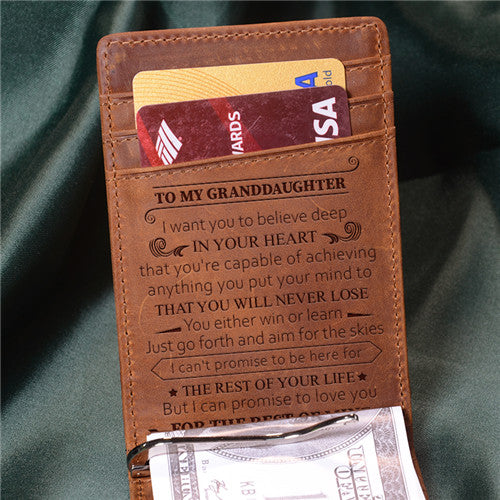 To Granddaughter - Never Lose - Money Clip Wallet