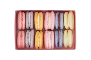 Mixed Pack Plant Based Vegan Macaron Jardin Box. Includes Raspberry, Lavender, Orange, Rose, Blueberry and Lemon macarons.