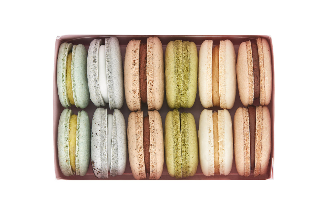 Mixed Pack Patisserie Plant Based Vegan Macarons: Pistachio, Earl Grey, Mocha, Matcha Green Tea, Vanilla, Chocolate.