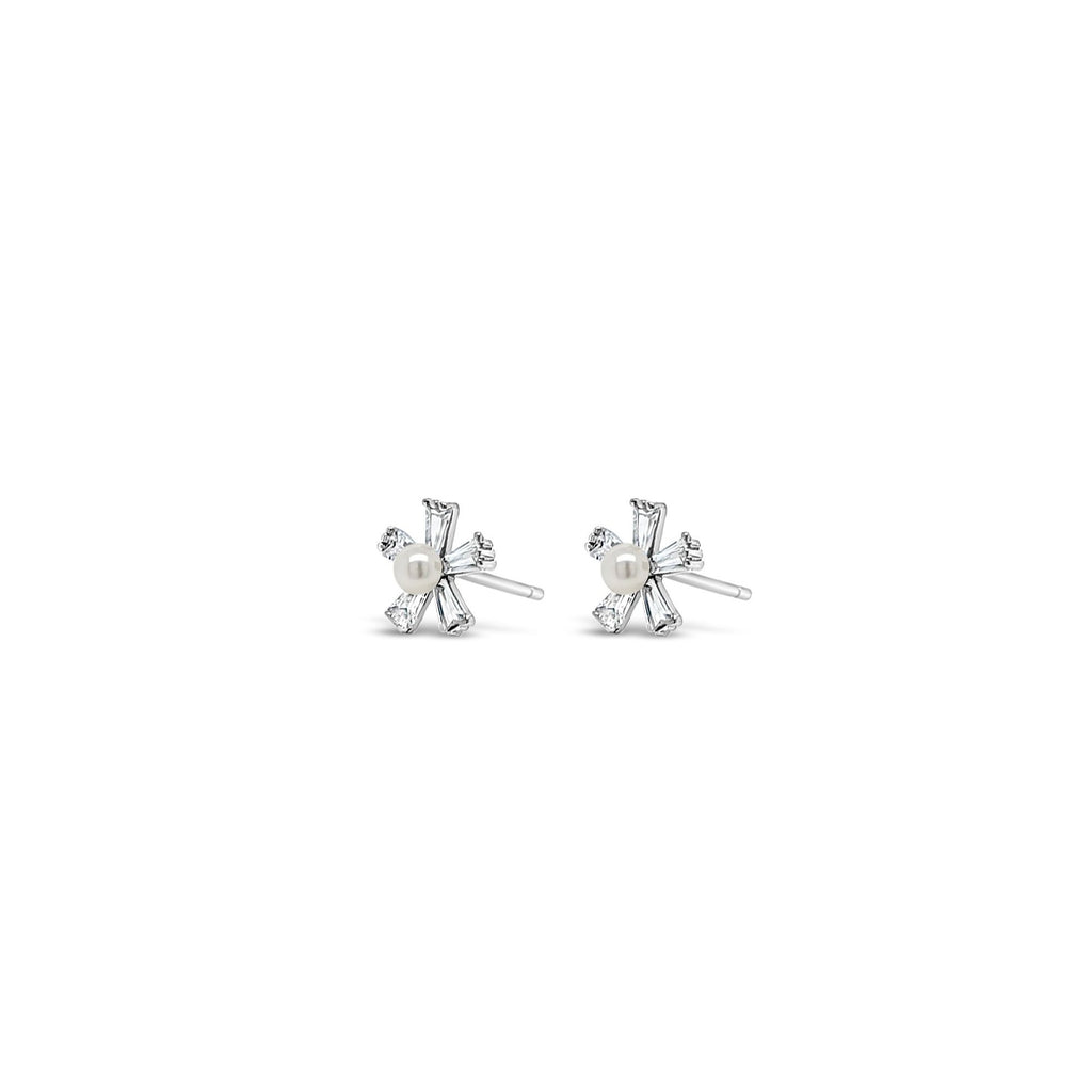 ABSOLUTE KIDS SILVER CRYSTAL FLOWER AND PEARL STUD EARRINGS CONFIRMATION COMMUNION