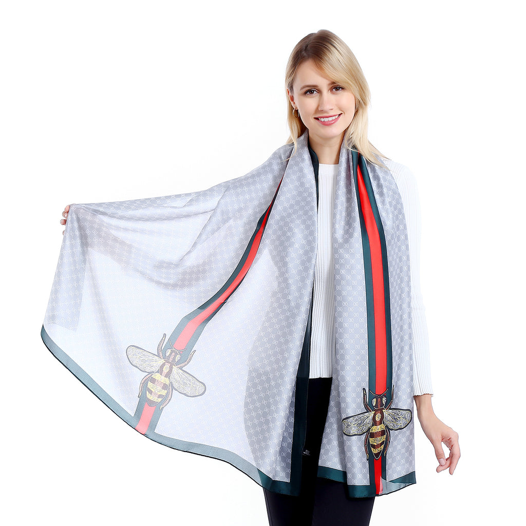 DESIGNER INSPIRED BEE MOTIF SCARF SILVER