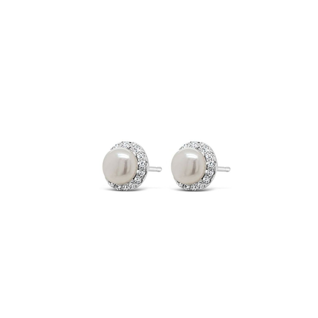 ABSOLUTE KIDS SILVER CRYSTAL PEARL EARRINGS CONFIRMATION COMMUNION