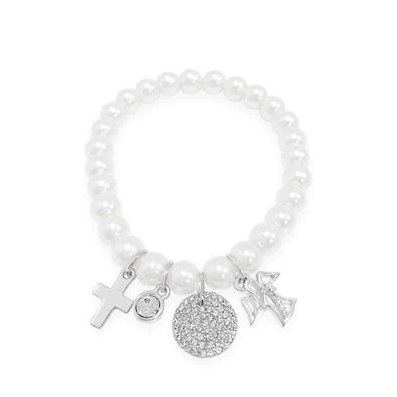 ABSOLUTE KIDS COMMUNION SILVER CROSS PEARL CHARM BRACELET CONFIRMATION