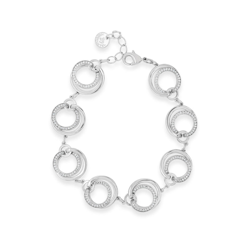 ABSOLUTE SILVER CIRCLE  BRACELET WITH CRYSTALS B2057SL