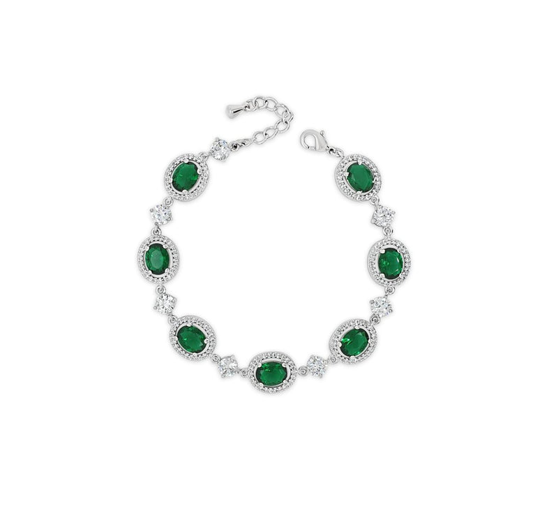 ABSOLUTE SILVER BRACELET WITH EMERALD & CRYSTAL HALO STONES B2121EM
