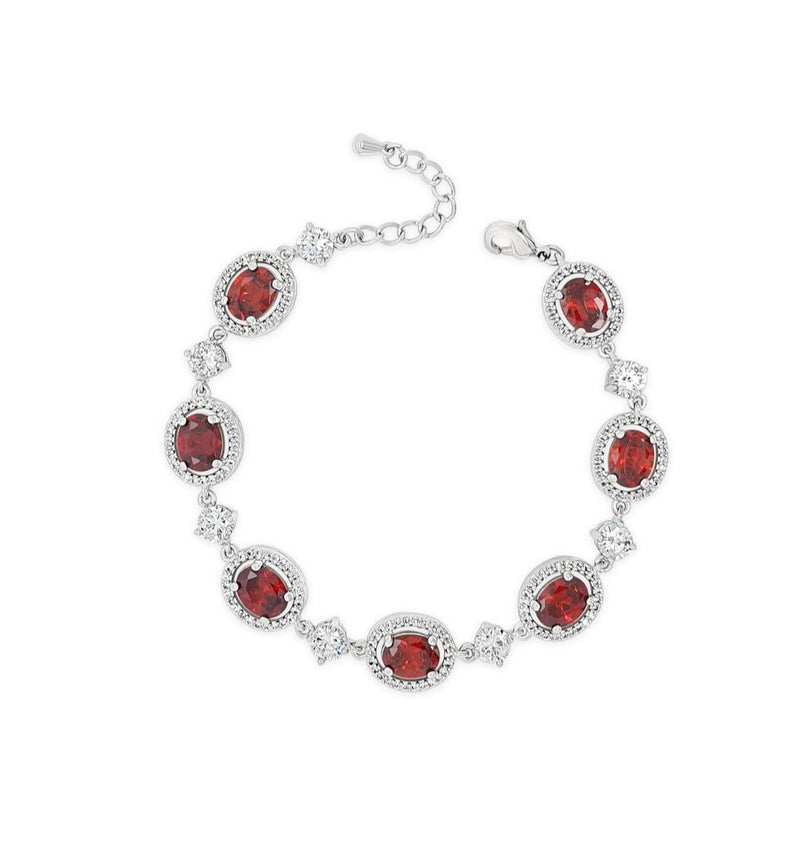 ABSOLUTE SILVER BRACELET WITH RUBY & CRYSTAL HALO STONES B2121RE