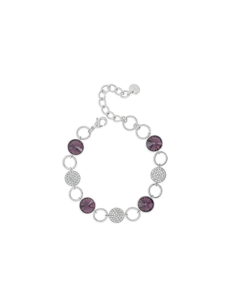 ABSOLUTE SILVER BRACELET WITH AMETHYST STONES B2123AM