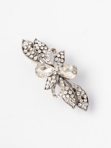 SILVER AND CRYSTAL BUTTERFLY BARRETTE