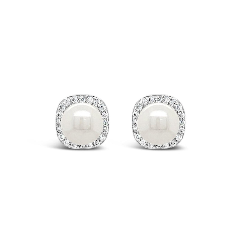 SILVER crystal and pearl stud earring