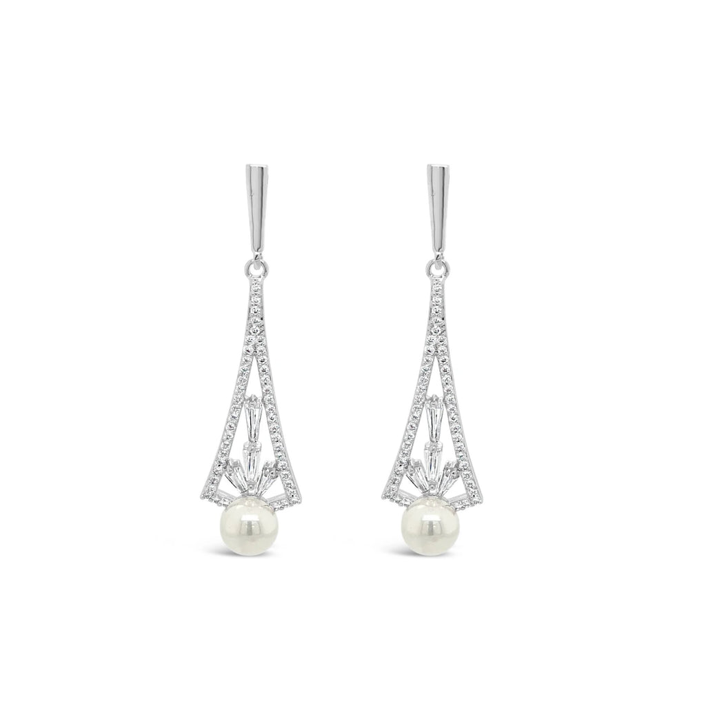 ABSOLUTE CRYSTAL & PEARL FILIGREE EARRINGS E2024