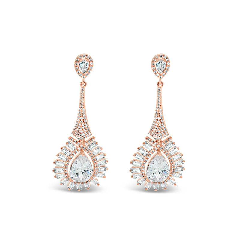 "ABSOLUTE ROSE GOLD & CRYSTAL ""KATRINA"" EARRING"
