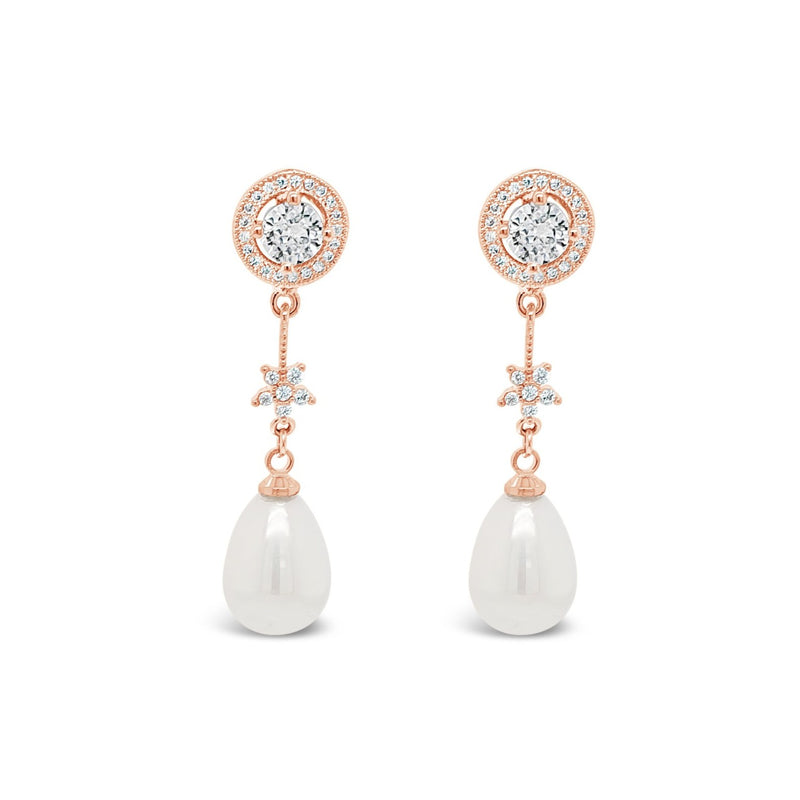 ABSOLUTE SILVER TEARDROP PEARL EARRINGS E2033SL/RS