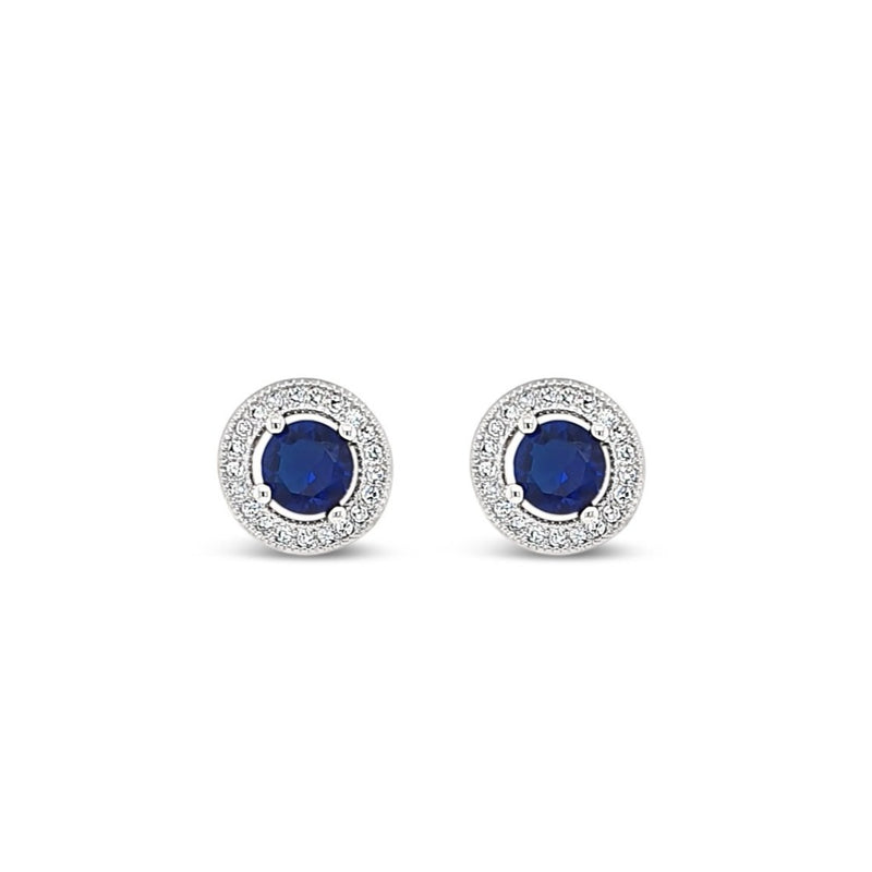 SAPPHIRE and crystal stud earring