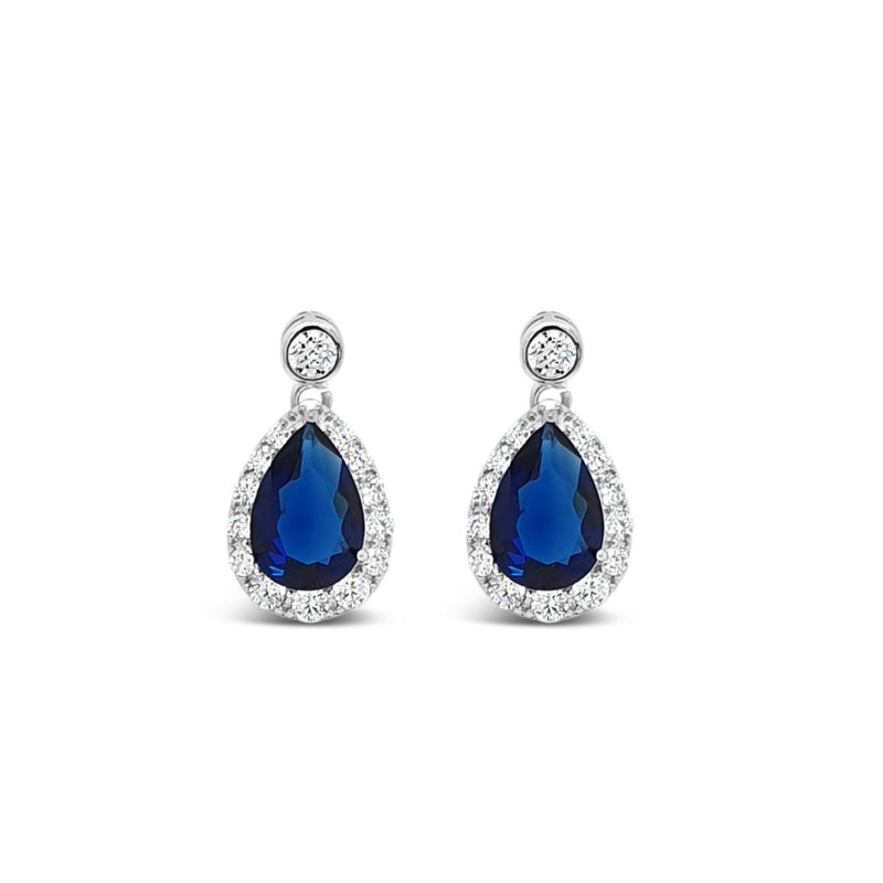ABSOLUTE SILVER SAPPHIRE & CRYSTAL MINI TEARDROP EARRING E2066MB